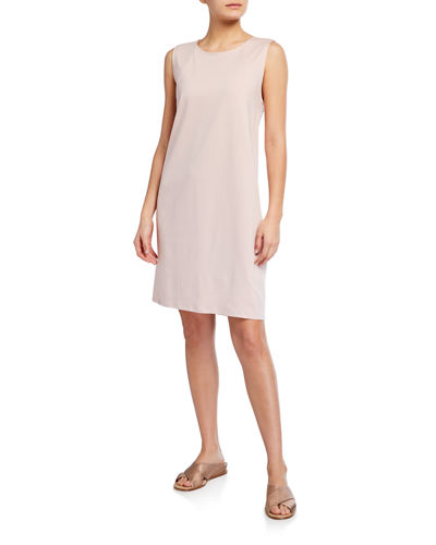 Eileen Fisher Jewel-Neck Knee-Length Lantern Dress