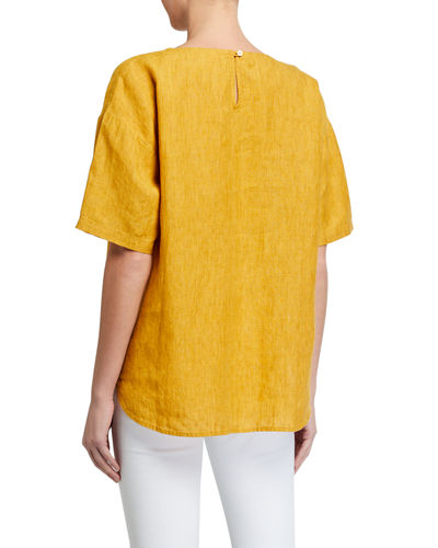 Eileen Fisher Jewel-Neck Elbow-Sleeve Box Top