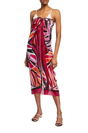 Emilio Pucci Multipattern Long Pareo Coverup