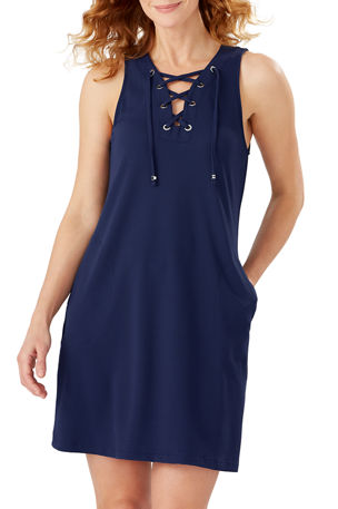 Tommy Bahama Colorblock Lace-Up Spa Dress