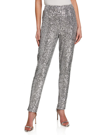 St. John Collection Starlight Sequin Mesh Pants