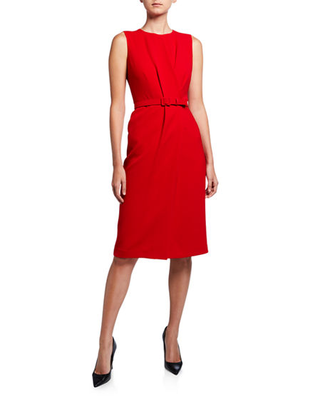 Lafayette 148 New York Jude Sleeveless Belted Finesse Crepe Dress
