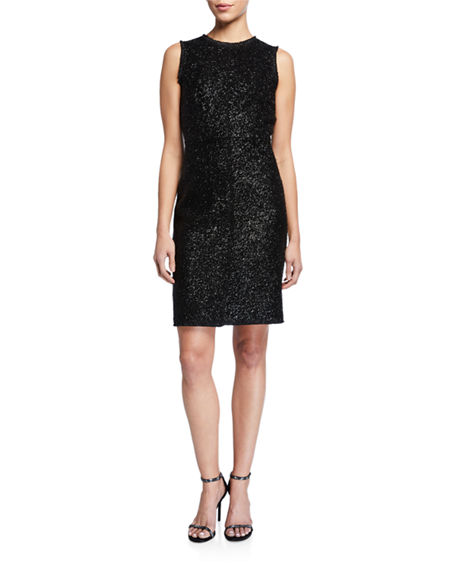 kate spade new york sleeveless tinsel tweed sheath dress