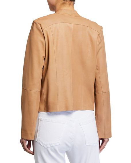 Image 2 of 2: Neiman Marcus Leather Collection Open-Front Draped Leather Jacket