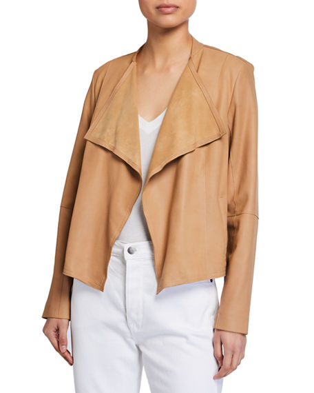 Image 1 of 2: Neiman Marcus Leather Collection Open-Front Draped Leather Jacket