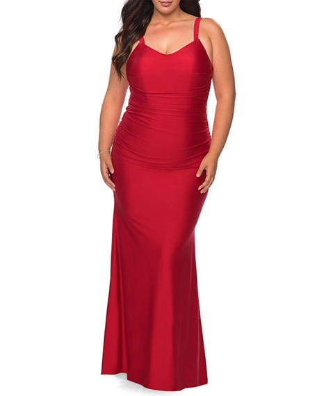 La Femme Plus Size V-Neck Sleeveless Ruched Jersey Gown