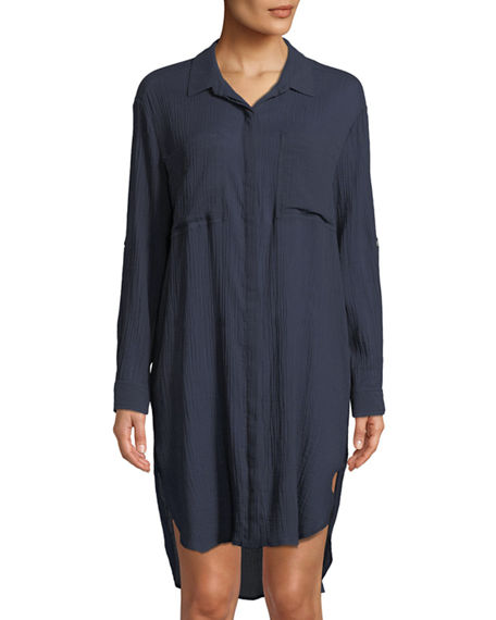 Image 3 of 3: Seafolly Crinkle Twill Beach Coverup Shirt