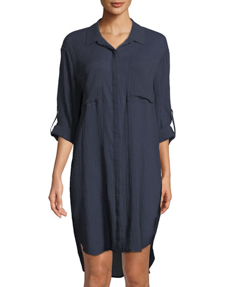 Image 1 of 3: Seafolly Crinkle Twill Beach Coverup Shirt