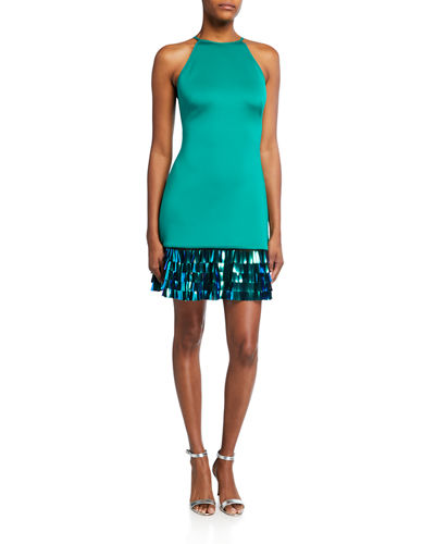Sequin Hem Crepe Halter Dress