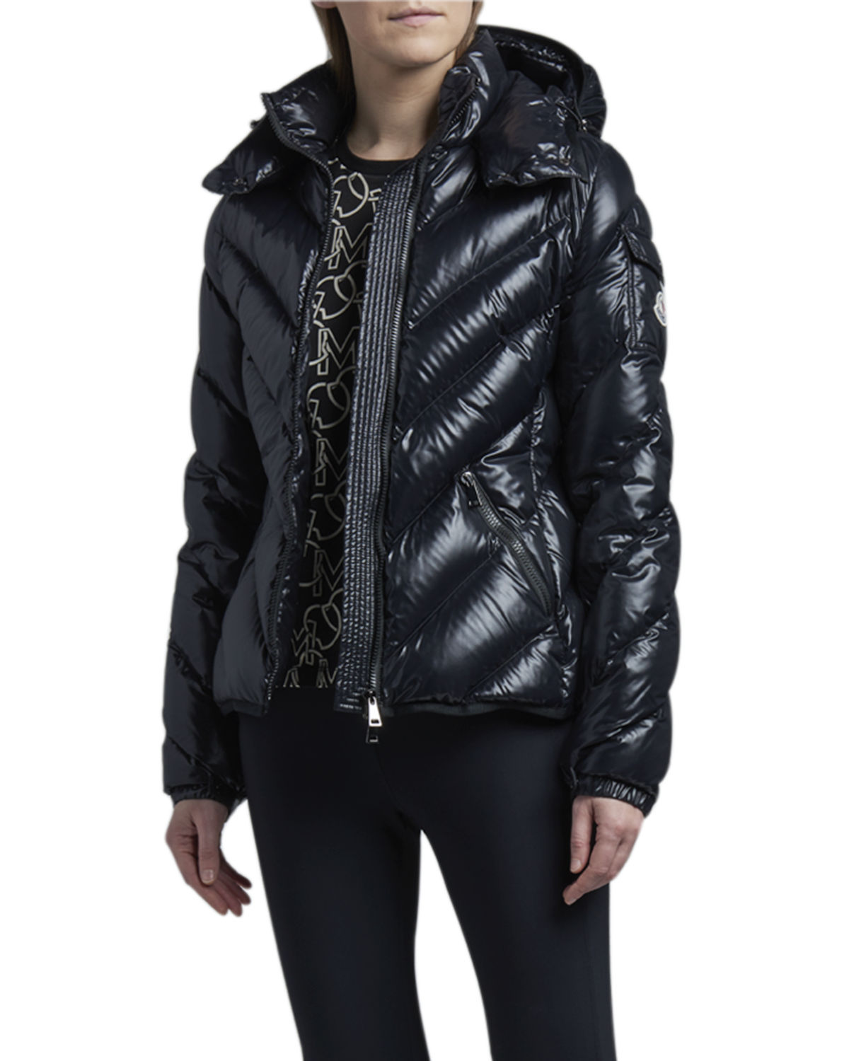 Brouel Chevron Nylon Laque Down Quilted Jacket with Attached Hood