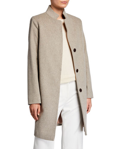 Fleurette Mandarin-Collar Covered-Placket Wool Coat