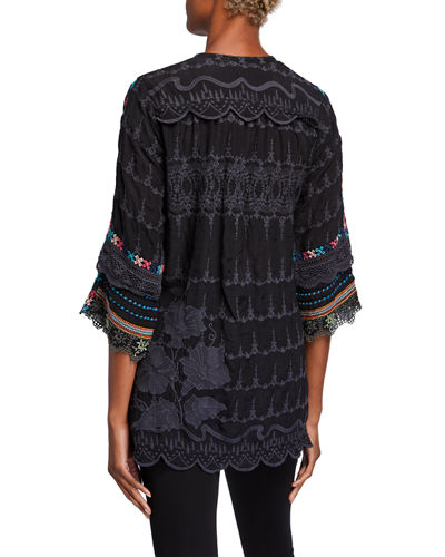 Johnny Was Mayu Button-Neck Tunic with Embroidered Sleeves