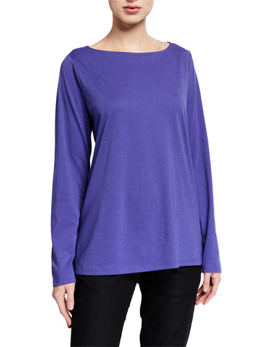 Eileen Fisher Organic Cotton Jersey Bateau-Neck Long-Sleeve T-Shirt
