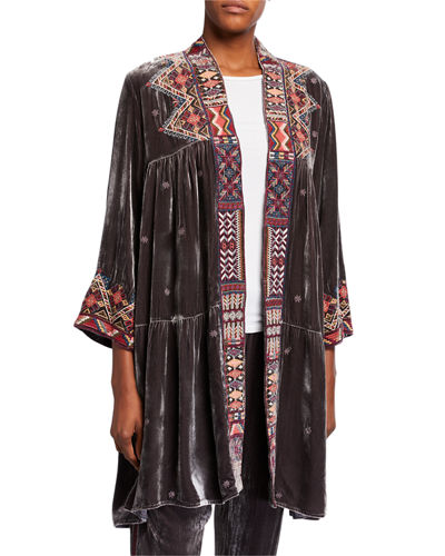 Ravi Velvet Tiered Duster Coat