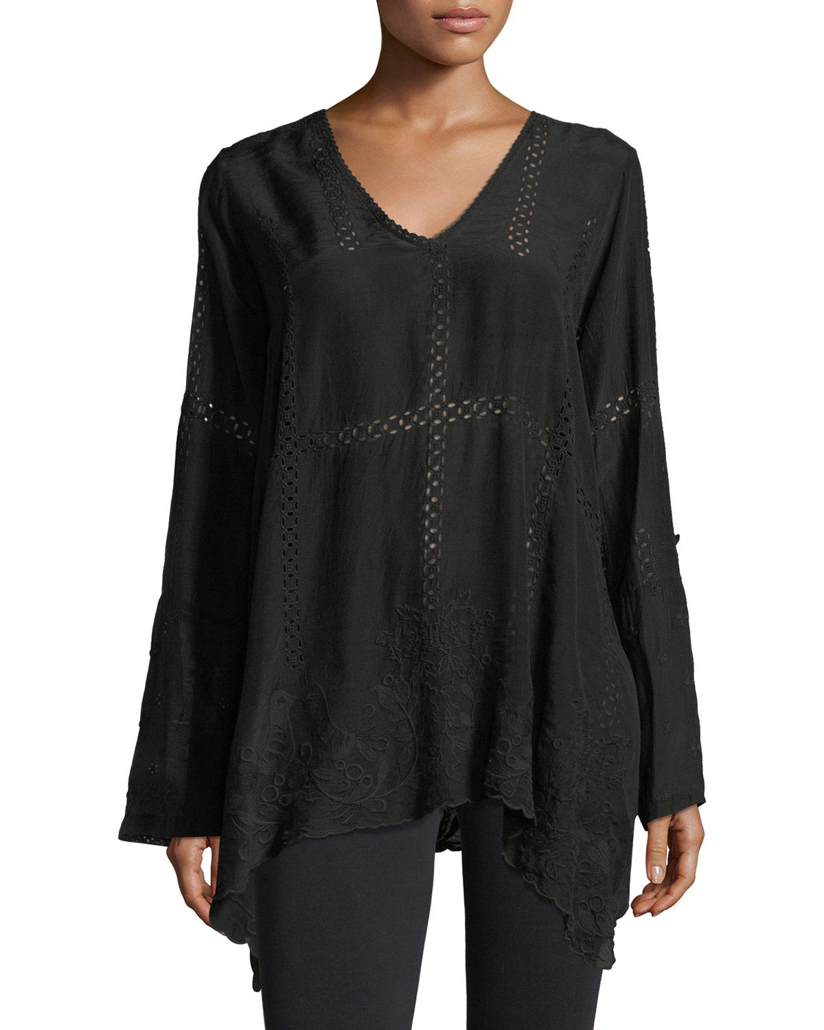 Johnny Was Tops PETITE CAGE FLARE LONG-SLEEVE TUNIC
