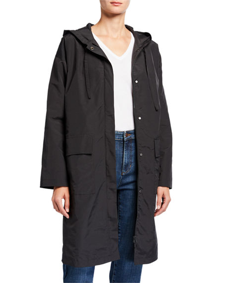 Eileen Fisher Organic Cotton/Nylon Hooded Coat