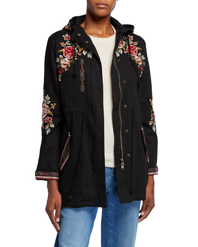 Plus Size Valentina Hooded Military Jacket w/ Embroidery