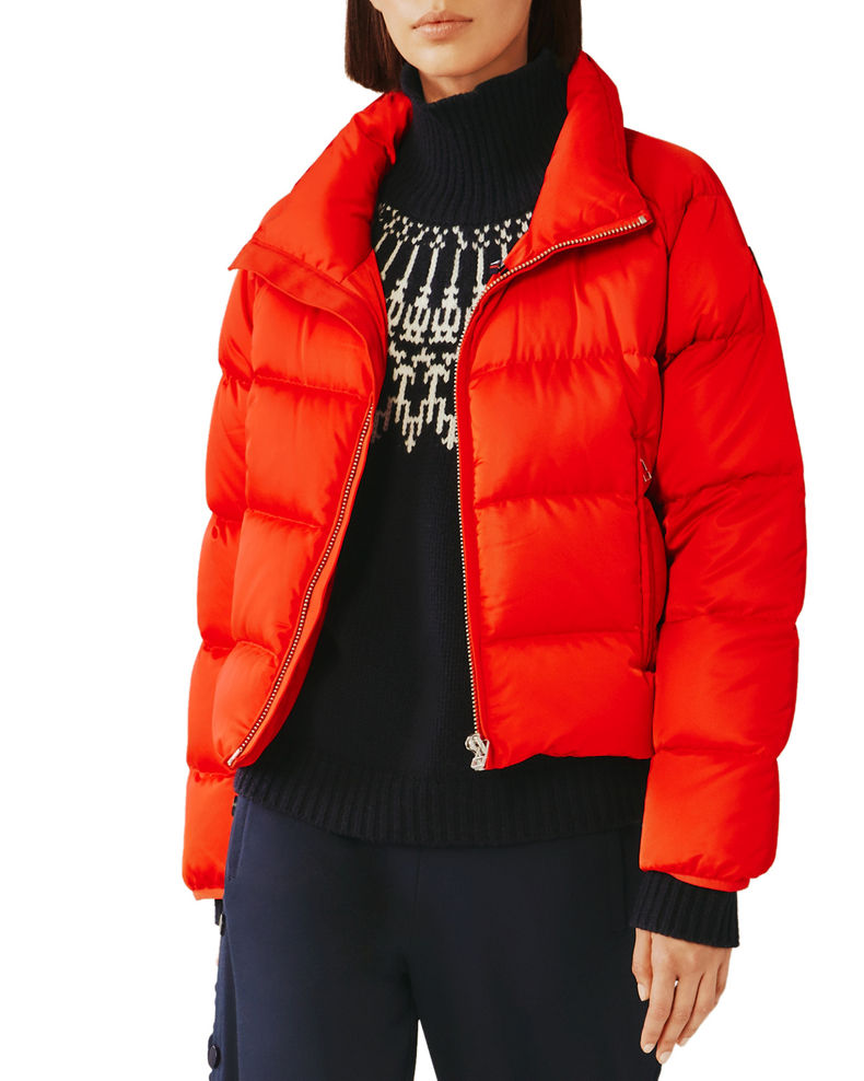 Tory Sport Satin Down-Fill Cropped Puffer Jacket