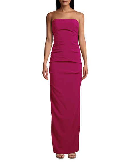 Nicole Miller Strapless Stretch Crepe Tuck Gown