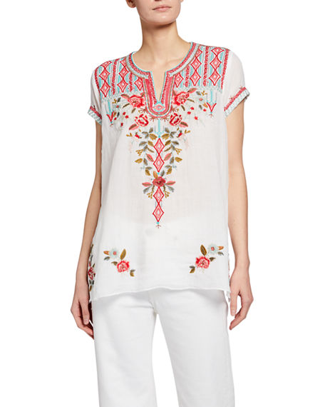 Johnny Was Cyrielle Embroidered Notched Neck Drape Top