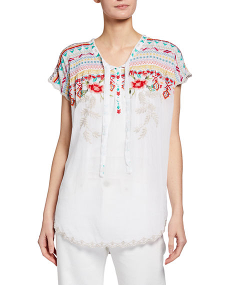 Johnny Was Plus Size Lissa Embroidered Blouse