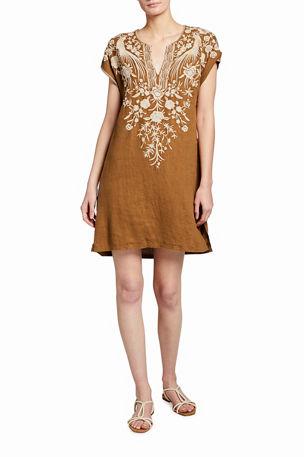 Johnny Was Oriana Embroidered Linen Easy Tunic Dress