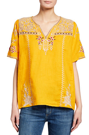 Johnny Was Izora Embroidered Linen Flutter-Sleeve Blouse