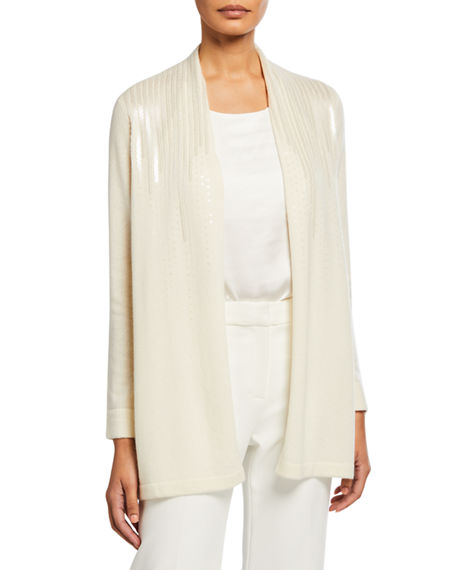 Neiman Marcus Cashmere Collection Cashmere Scattered Sequin Open-Front Cardigan