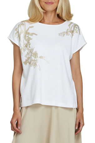 Joan Vass Plus Size Embroidered Big Tee