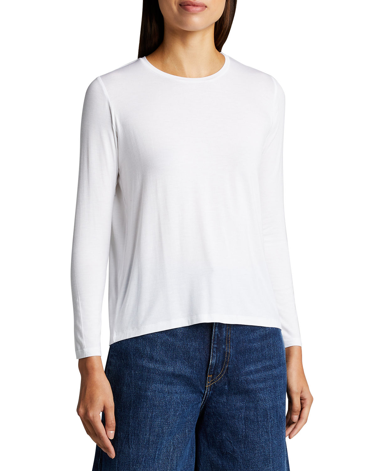 Majestic SOFT TOUCH CREWNECK LONG-SLEEVE TOP W/ BACK PLEAT