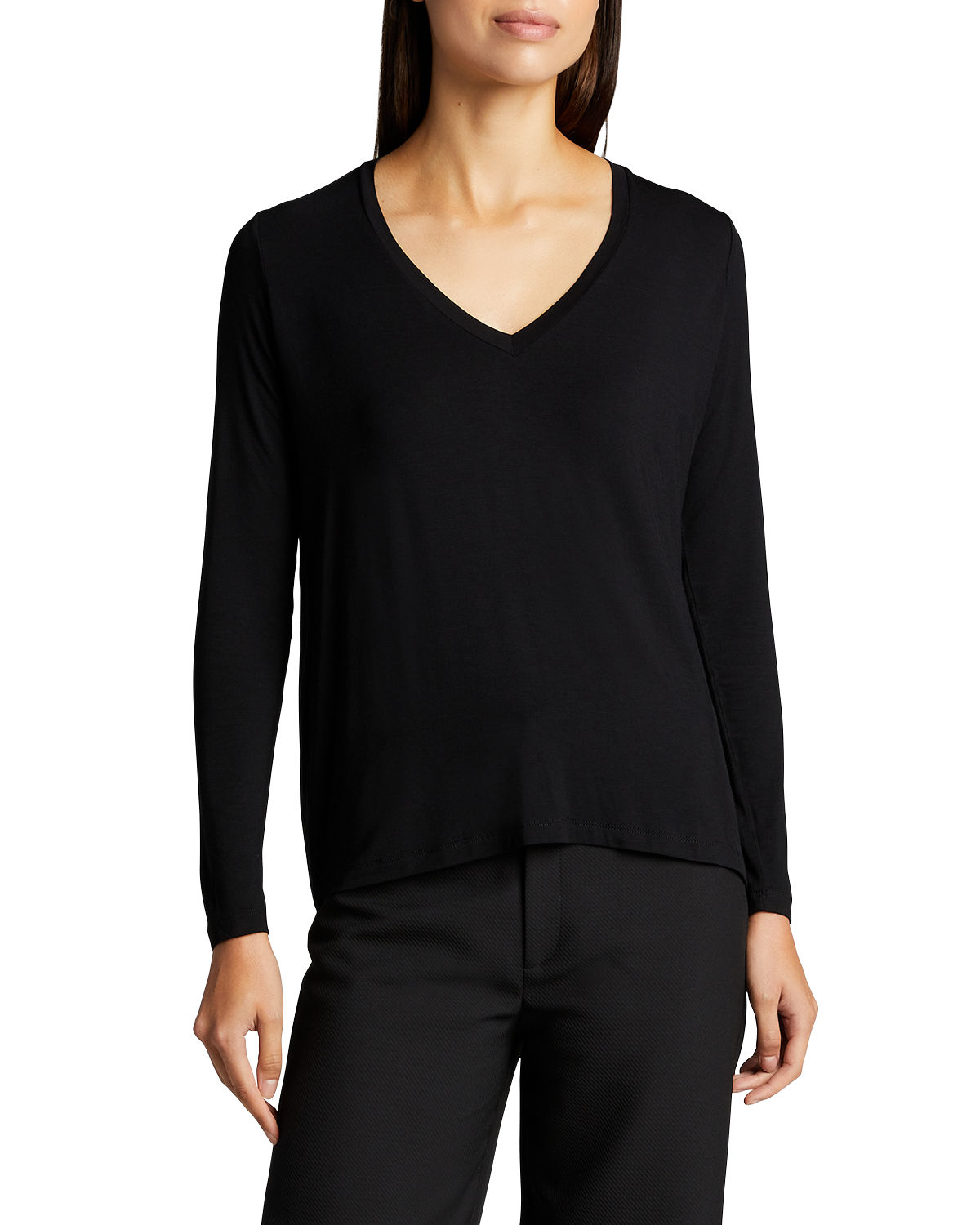 Majestic SOFT TOUCH V-NECK LONG-SLEEVE BACK-PLEAT TOP