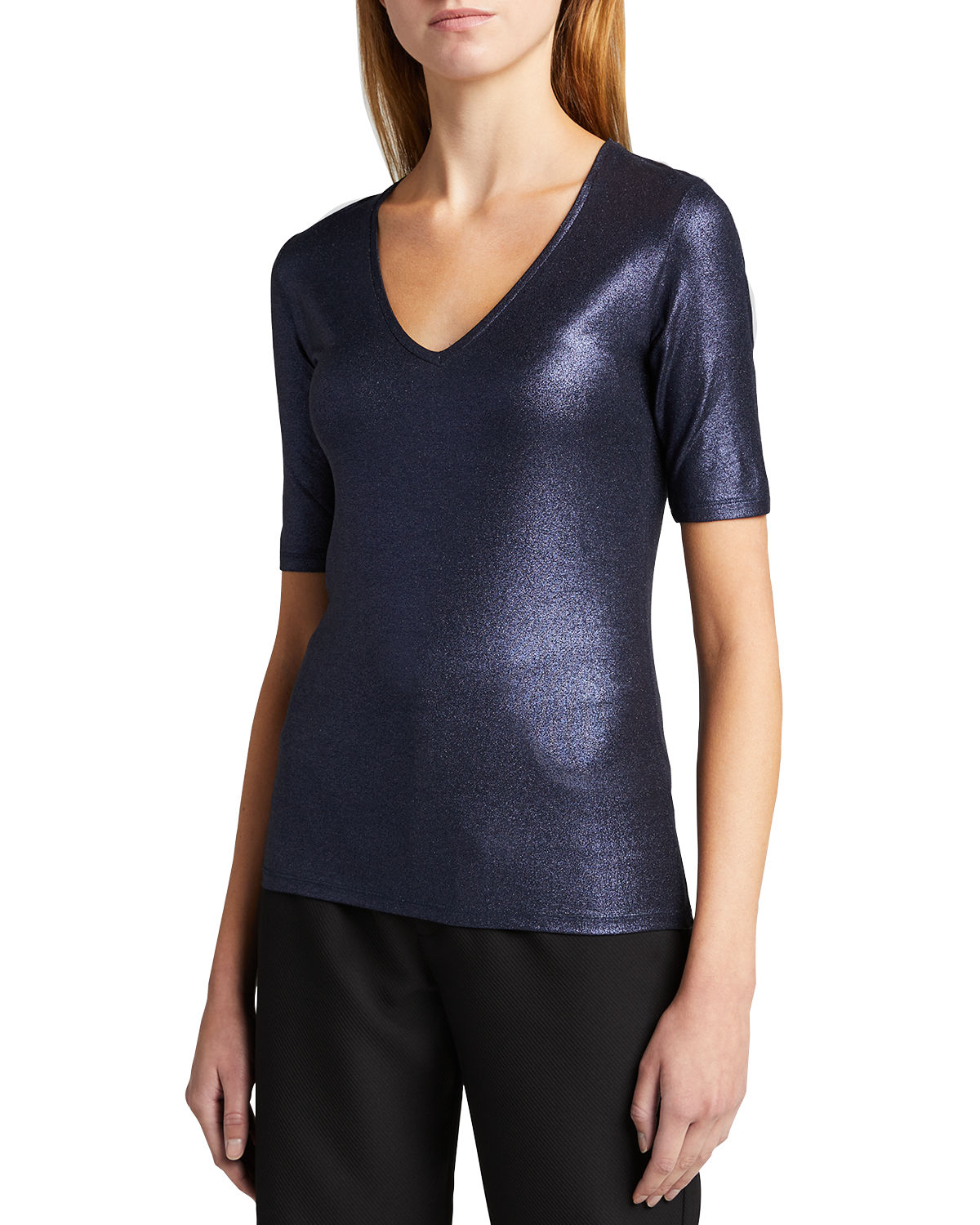 Majestic METALLIC SOFT TOUCH ELBOW SLEEVE V-NECK TOP