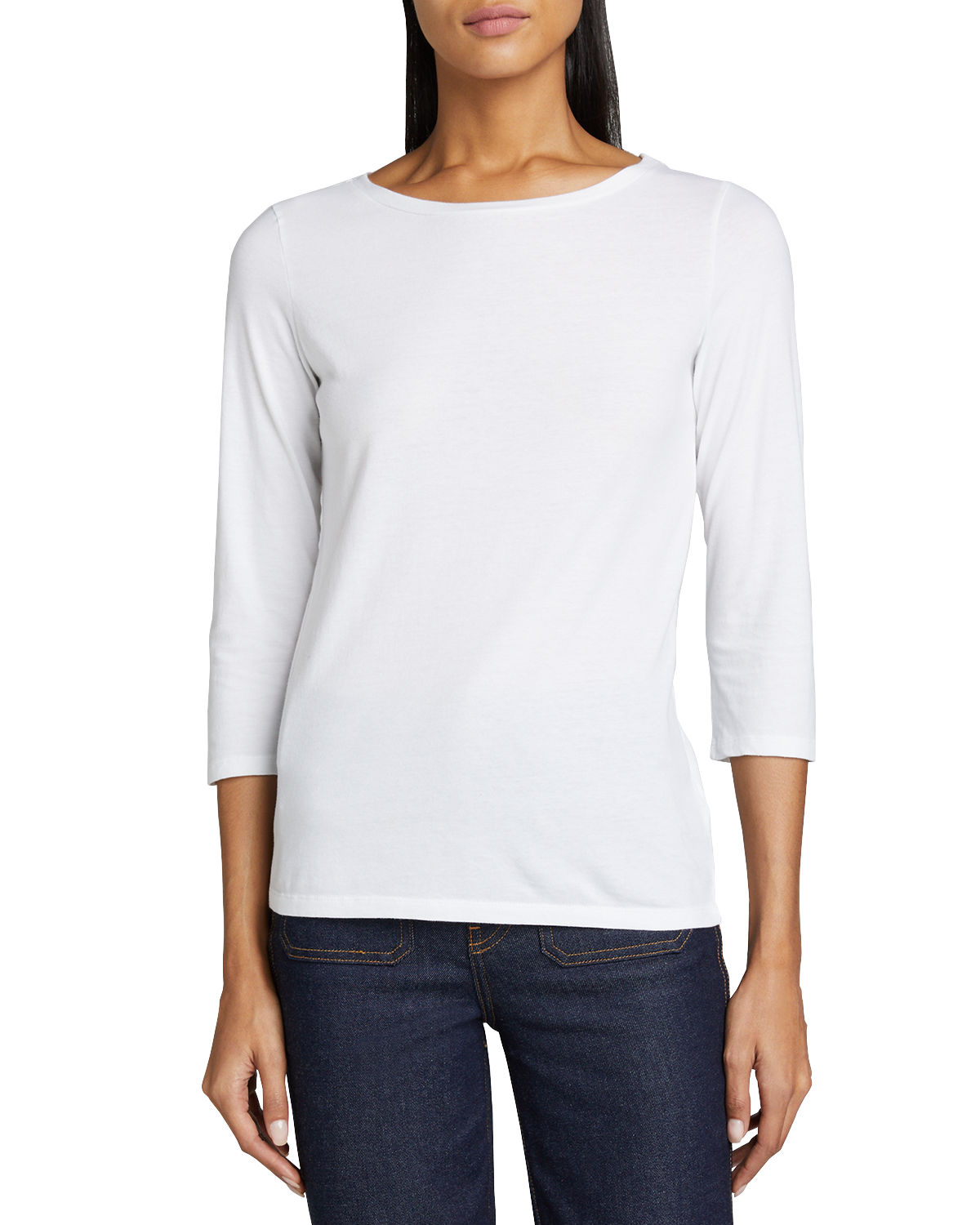 Majestic BOAT-NECK 3/4-SLEEVE COTTON SILK-TOUCH TEE