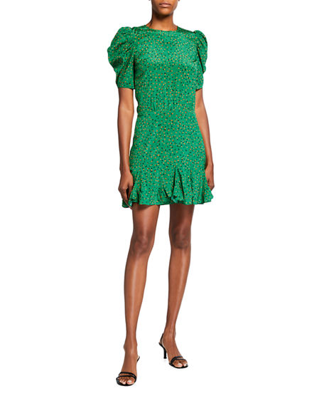 Veronica Beard Lila Puff-Sleeve Silk Flounce Dress