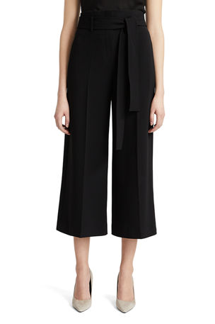 Theory Belted Crepe Cropped Pants