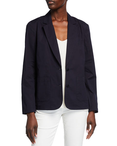Eileen Fisher Petite Organic Stretch Cotton Poplin Notch Collar Jacket
