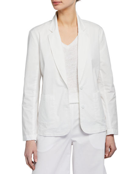 Eileen Fisher Organic Stretch Cotton Poplin Notch Collar Jacket
