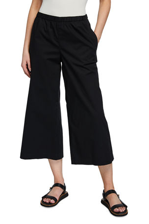 Eileen Fisher Organic Stretch Cotton Poplin Wide Leg Cropped Pants