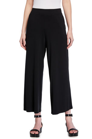 Eileen Fisher Lyocell Jersey Wide-Leg Ankle Pants w/ Pockets