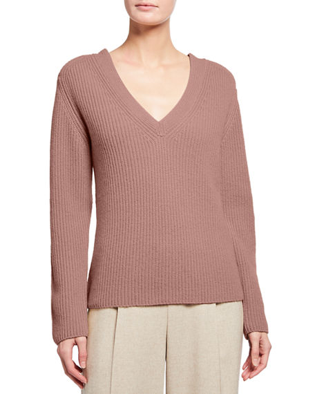 Vince V-Neck Shaker Ribbed Stitch Cashmere Sweater