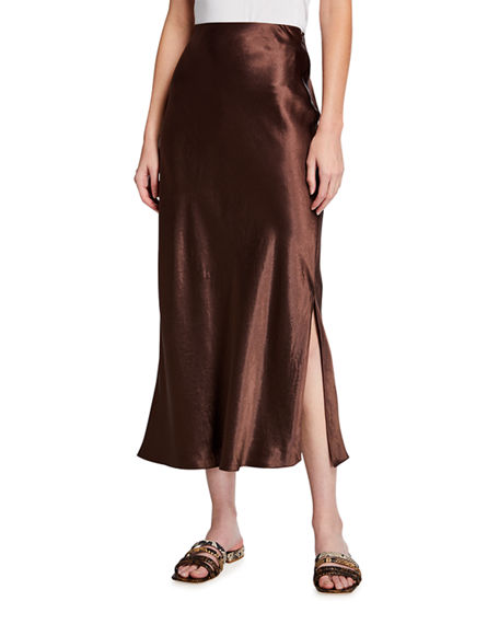 Vince Side Slit Midi Satin Slip Skirt