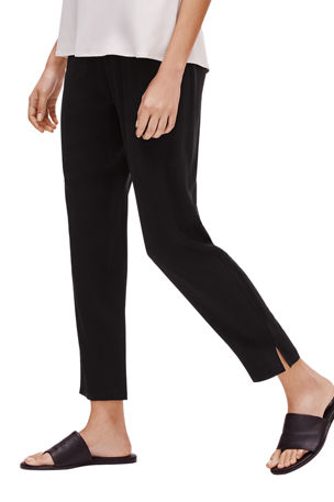 Eileen Fisher Tapered Silk Pants with Side Slits