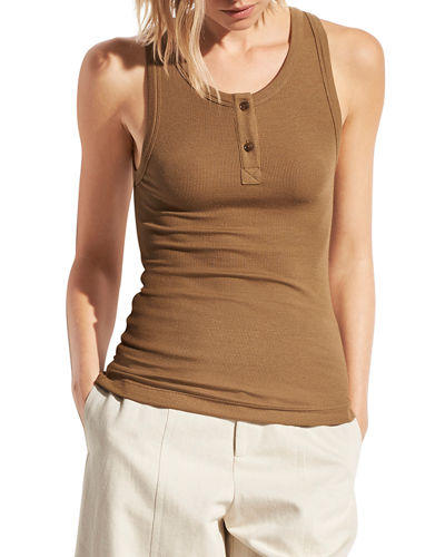 Stretch Knit Henley Tank