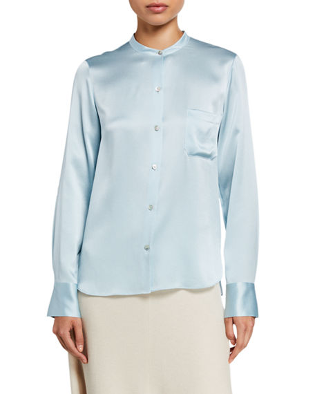 Vince Slim Fitted Band Collar Button-Down Silk Shirt