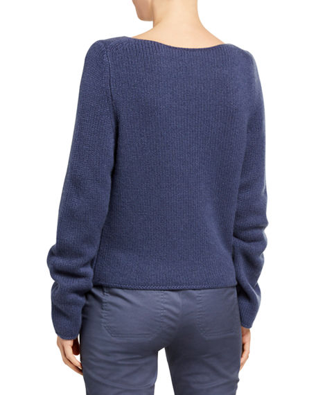 Image 2 of 2: Vince Boat-Neck Long-Sleeve Cashmere Sweater