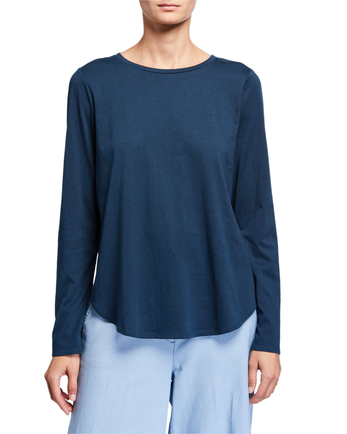 EILEEN FISHER ORGANIC COTTON JERSEY SHIRTTAIL HEM LONG-SLEEVE TEE