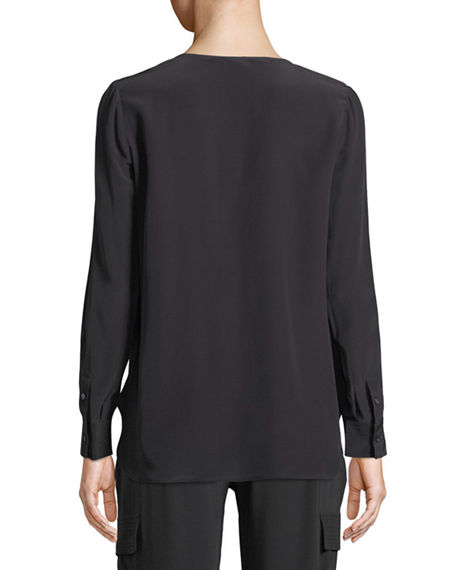 Image 2 of 3: Go Silk Silk Flap-Pocket Top