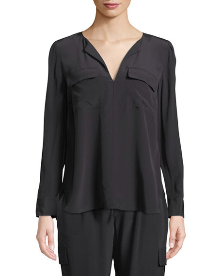 Image 3 of 3: Go Silk Silk Flap-Pocket Top