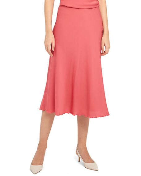 Theory Ruffled Silk Midi Skirt