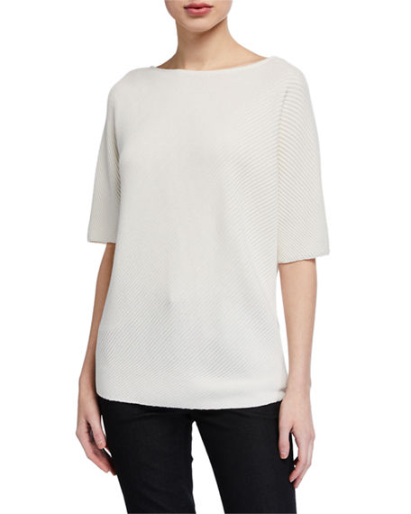 Lafayette 148 New York Cotton/Silk Tape Diagonal Stitch Dolman Sweater